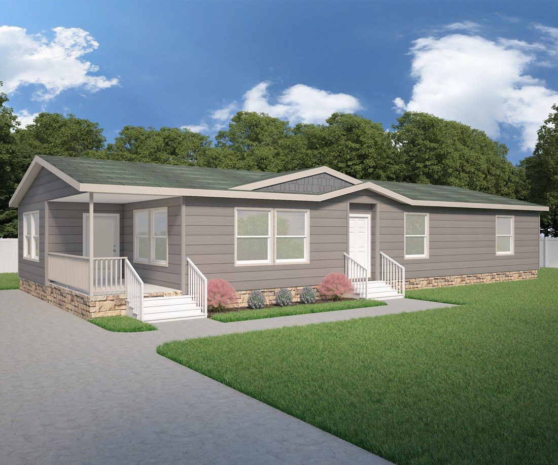 The 9587S THE JEFFERSON Exterior. This Manufactured Mobile Home features 2 bedrooms and 2 baths.