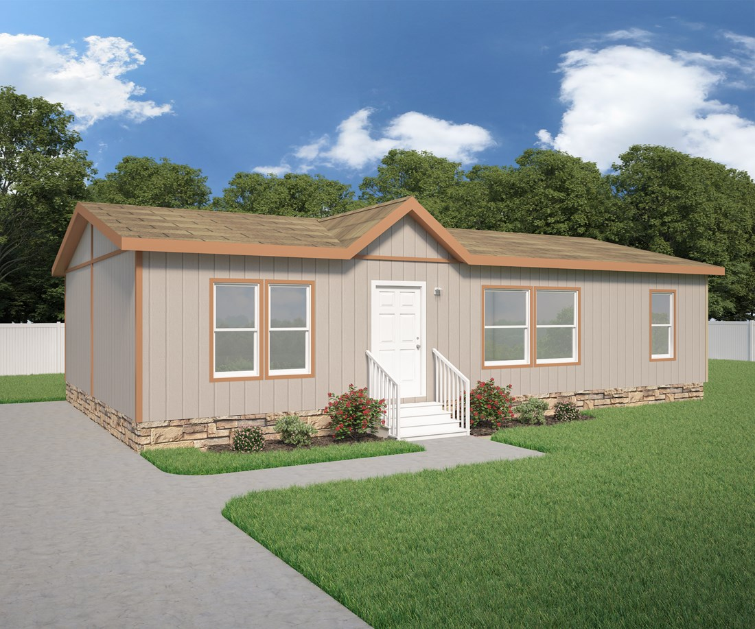 The 2844A DESERT BLOOM Exterior. This Manufactured Mobile Home features 3 bedrooms and 2 baths.
